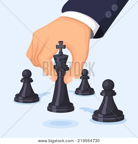 Business concept illustration. Hand moving chess. Visualization of leadership. Chess strategy game, move king vector