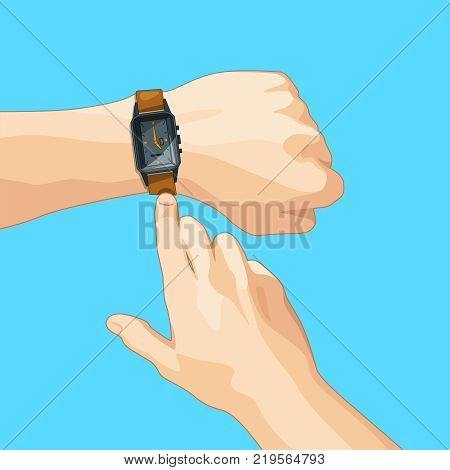 Business concept picture with mechanical hand watch. Vector illustration isolate. Time clock and watch wrist on hand