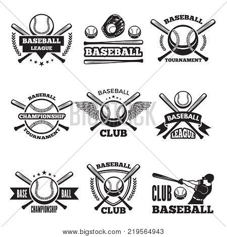 Baseball logos set in vector style. Baseball logo and emblem label for sport club and championship illustration
