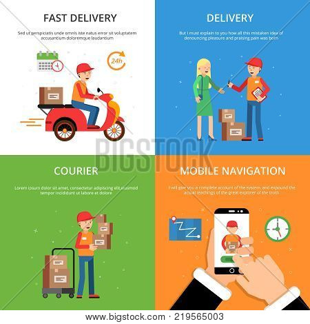Concept pictures set on theme of delivery service. Customers and logistics. Service delivery goods, logistic process, vector illustration