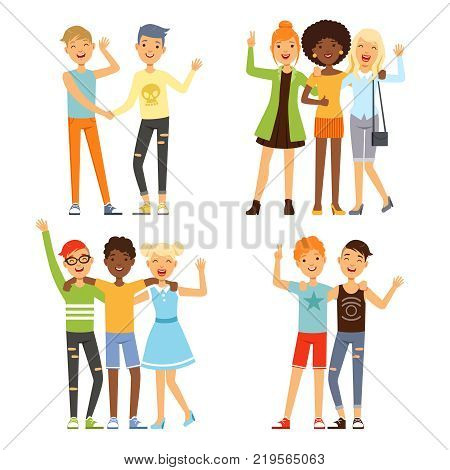 Illustrations of best friends. Friendly hugging of teenagers. Vector friendship and happy together young friends