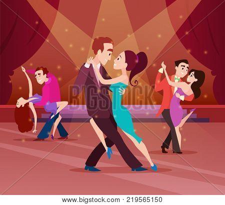 Couples on dance floor. Cartoon characters dancing. People romantic dancer tango. Vector illustration
