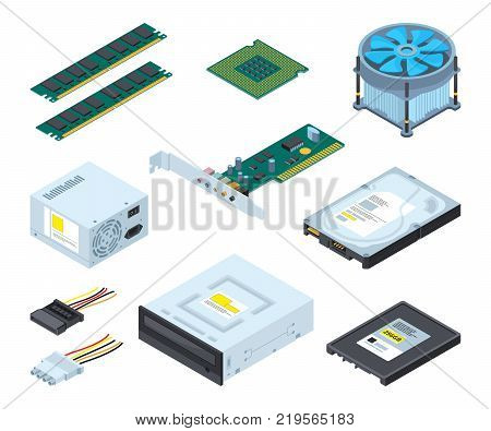 Different hardware parts and components of personal computer. Vector isometric pictures set. Memory and hdd device illustration