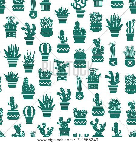 Vector monochrome pattern with cacti in plant pots. Cactus and houseplant seamless botanical pattern
