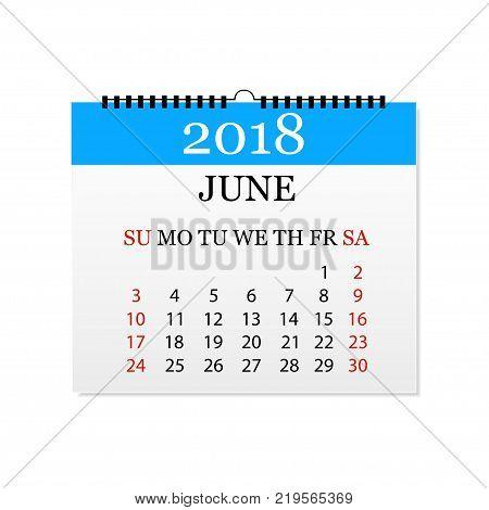 Monthly calendar 2018. Tear-off calendar for June. White background. Vector illustration