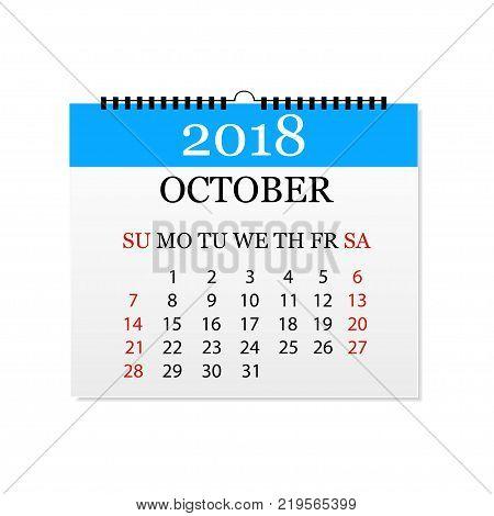 Monthly calendar 2018. Tear-off calendar for October. White background. Vector illustration