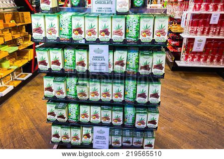 Amsterdam, Netherlands - December 14, 2017: Cannabies cookies in shop in Amsterdam city, Netherlands on December 14, 2017