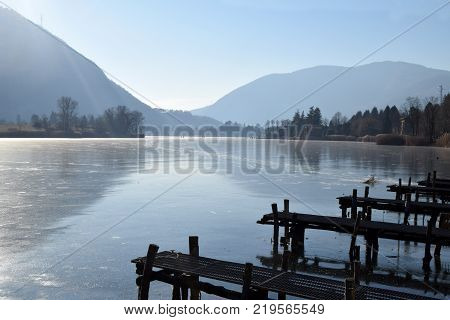 An entire lake completely frozen - Lake Endine - Bergamo - Lombardy - Italy 0011