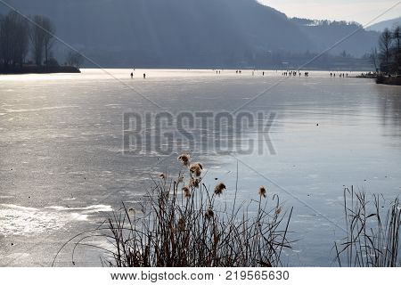An entire lake completely frozen  Lake Endine  Bergamo  Lombardy  Italy