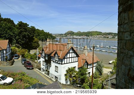 Conwy Wales United Kingdom - June 22 2014 : Conwy town in North Wales