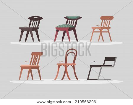 Set of chairs for home and office interior. Modern and vintage furniture. Vector illustration