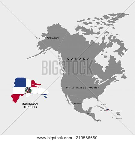 Territory of the Dominican Republic on North America continent. Flag of the Dominican Republic. Vector illustration