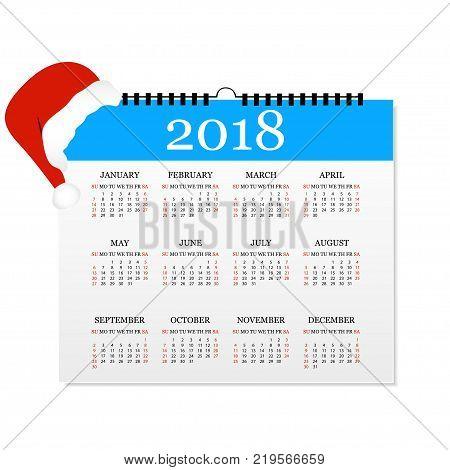 Calendar 2018. Simple Calendar template for year 2018. Tear-off calendar for 2018. White background. Vector illustration