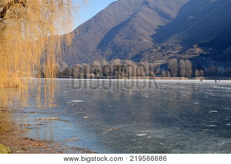 An entire lake completely frozen - Lake Endine - Bergamo - Lombardy - Italy 004