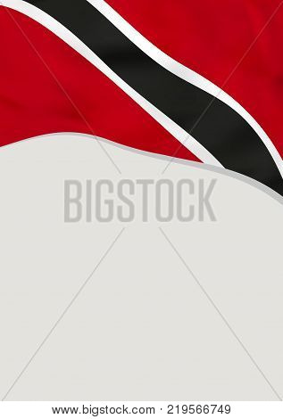 Leaflet design with flag of Trinidad and Tobago. Vector template.