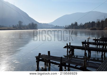 An entire lake completely frozen - Lake Endine - Bergamo - Lombardy - Italy 007