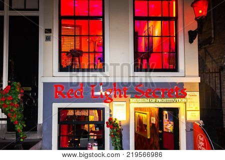 Amsterdam, Netherlands - December 14, 2017: Red Light Secrets, Museum of Prostitution right in the center of Amsterdam, Netherlands on December 14, 2017