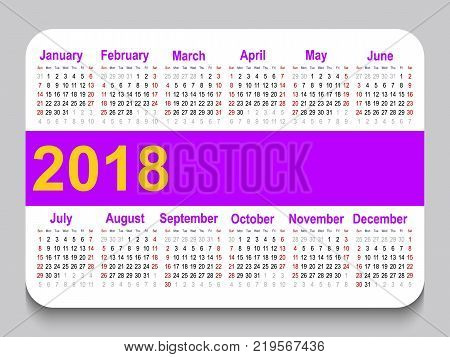 2018 pocket calendar. Template calendar grid. Horizontal orientation. Week starts on Sunday. White background. Vector illustration.
