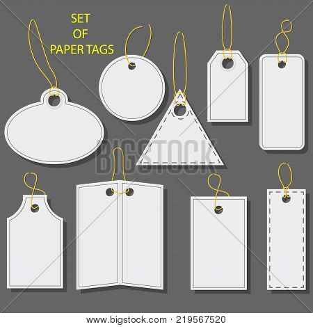 Set of blank white paper tags, labels, stickers with a barcode. Isolated elements of different shapes. Flat design. Vector illustration.