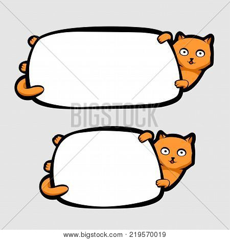 Ginger cat holding blank white banner, vector illustration