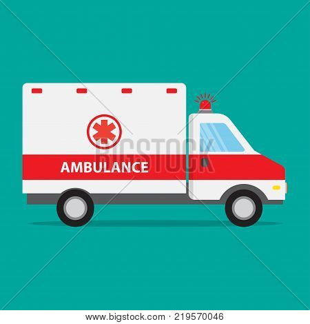 Ambulance car icon flat design. Vector illustration