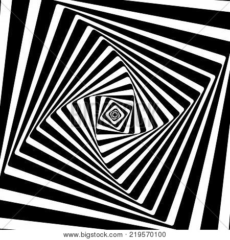 A black and white optical illusion. Vasarely optical effect.
