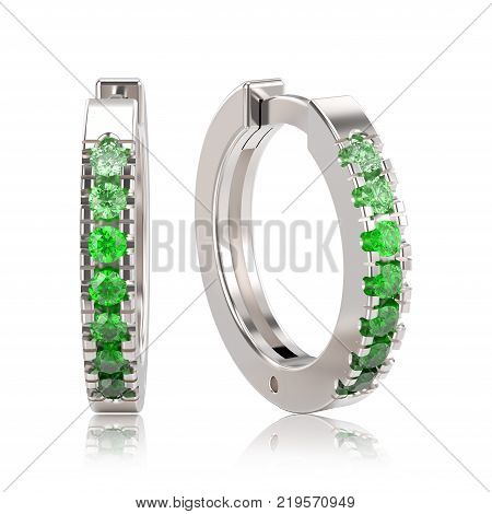 3D illustration white gold or silver decorative earrings hinged lock with green gradient diamonds with reflection on a white background