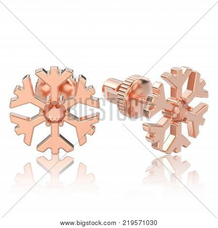 3D illustration isolated rose gold diamond snowflake stud earrings with reflection on a white background