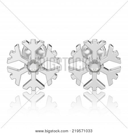 3D illustration isolated white gold or silver diamond snowflake stud earrings with reflection on a white background