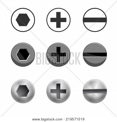 A set of metal shiny screws for use in your designs - vector illustration