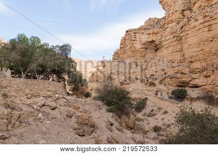Near Mitzpe Yeriho Israel November 25 2017 : The path leading to the monastery of St. George Hosevit (Mar Jaris) in Wadi Kelt near Mitzpe Yeriho in Israel