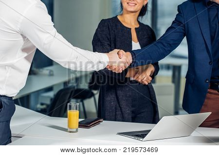 Business handshake. Business handshake and business people concept. Two men shaking hands