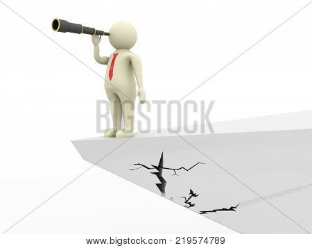 Businessman standing on a cliff with monocular. Business concept of leadership, business plan. 3d render