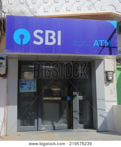Udaipur India - October 15, 2017: State Bank Of India Atm. State Bank Of India Is Indian Multination