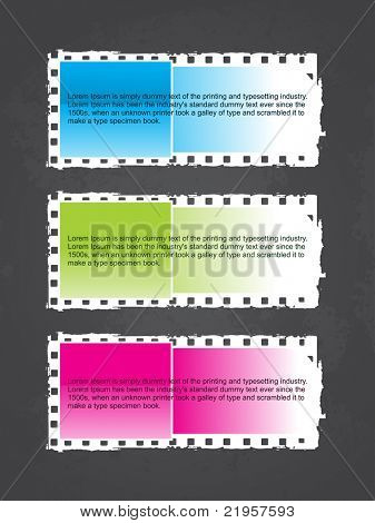 grey background with set of three colorful grungy frames, illustration