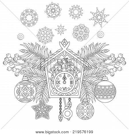 Christmas coloring page. Holiday hanging decorations and fir tree branches around wall cuckoo clock. Freehand sketch drawing for New Year greeting card or adult antistress coloring book.