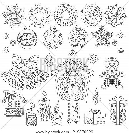 Christmas ornaments. Collection of holiday decorations for New Year greeting card or adult antistress coloring book page in zentangle style.