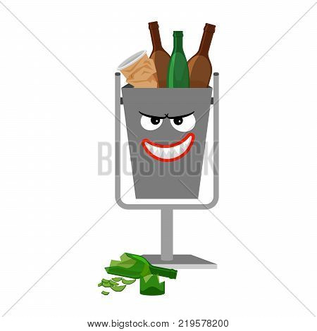 Garbage can with glass trash isolated on the white background, vector illustration