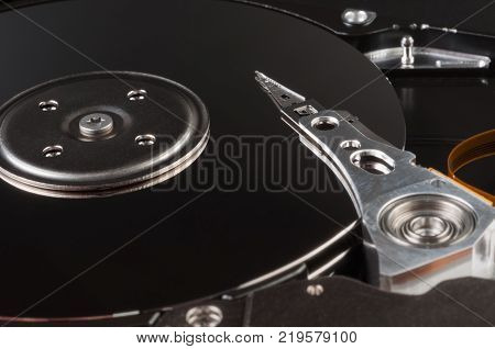 Hard disk drive - computer device for storing information, close-up