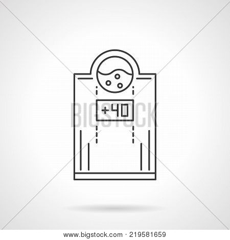 Symbol of electric water heater with temperature 40. Household appliances and heating system equipment. Flat black line vector icon.