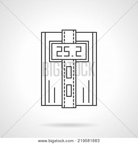 Symbol of digital thermostat with temperature on screen and two buttons. Automated heating system, household appliances and equipment. Flat black line vector icon.