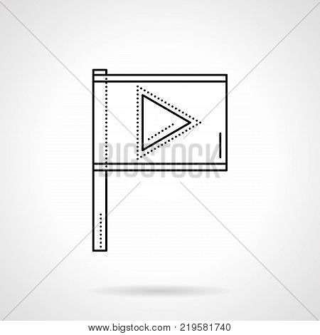 Symbol of flag with player sign. Mark button for important videos. Blogging and social media. Flat black line vector icon.