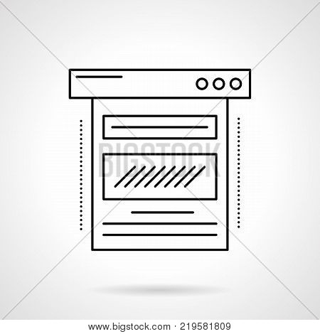 Symbol of abstract web page. Blogging and blog post writing, content making. Digital marketing concept. Flat black line vector icon.