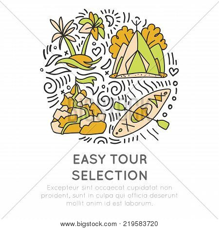 Easy travelling tour selection hand draw cartoon icon concept. Traveling icons in round circle with decorative elements. Travel icon about kayaking, tropical islands, camping and trekking, isolated on white background