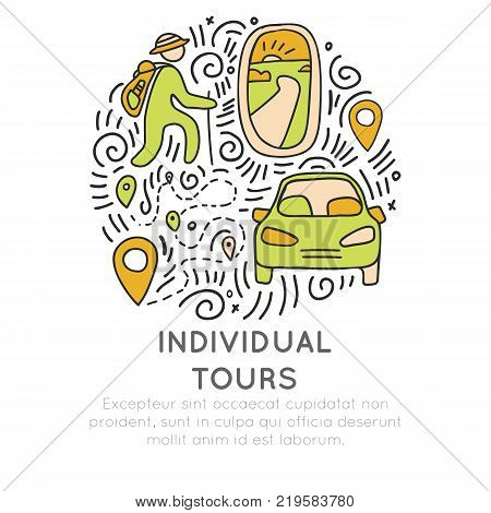 Invividual tours hand draw cartoon vector icon concept. Icon about individual travel, porthole, airplane, car, hikking man in round form with decorative elements. Travelling tour icon concept isolated on white background
