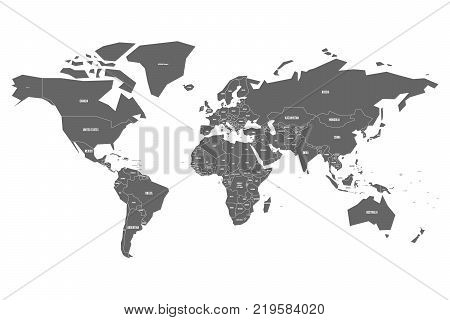 Simplified map of World in grey with country name labeling. Schematic vector map with small states or ministates.