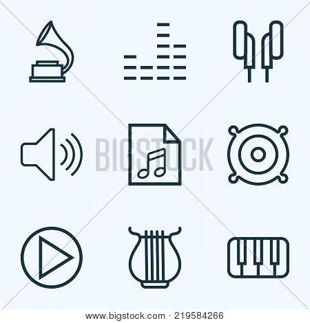 Multimedia icons line style set with soundtrack, audio level, orator and other keys elements. Isolated vector illustration multimedia icons.