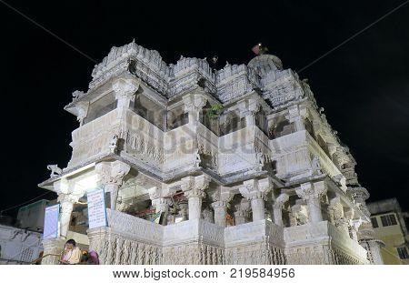 Udaipur India - October 16, 2017: Unidentified People Visit Jagdish Temple In Udaipur. Jagdish Templ