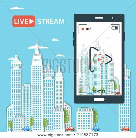 Video Streaming On Phone.vector Illustration