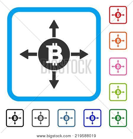 Bitcoin Directions icon. Flat gray pictogram symbol inside a blue rounded squared frame. Black, gray, green, blue, red, orange color additional versions of Bitcoin Directions vector.